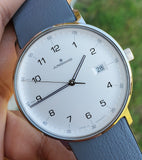 Junghans Form Quarz 39mm Grey Leather Strap Men's Watch 041/4885.00