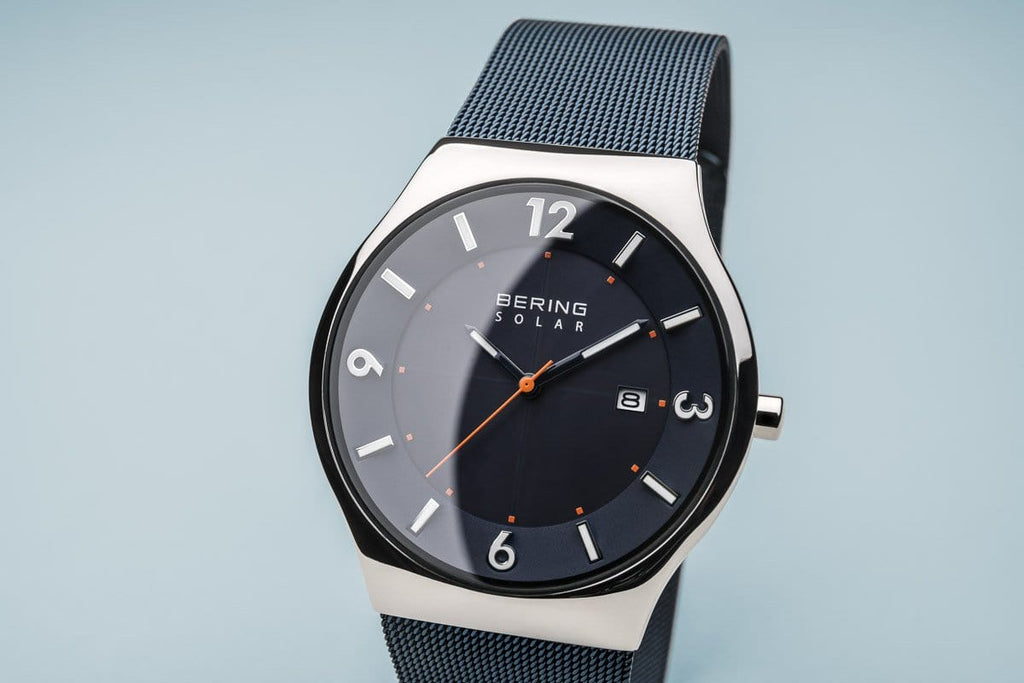BERING Solar 40mm Polished Silver Case Blue Dial Men's Watch 14440-307