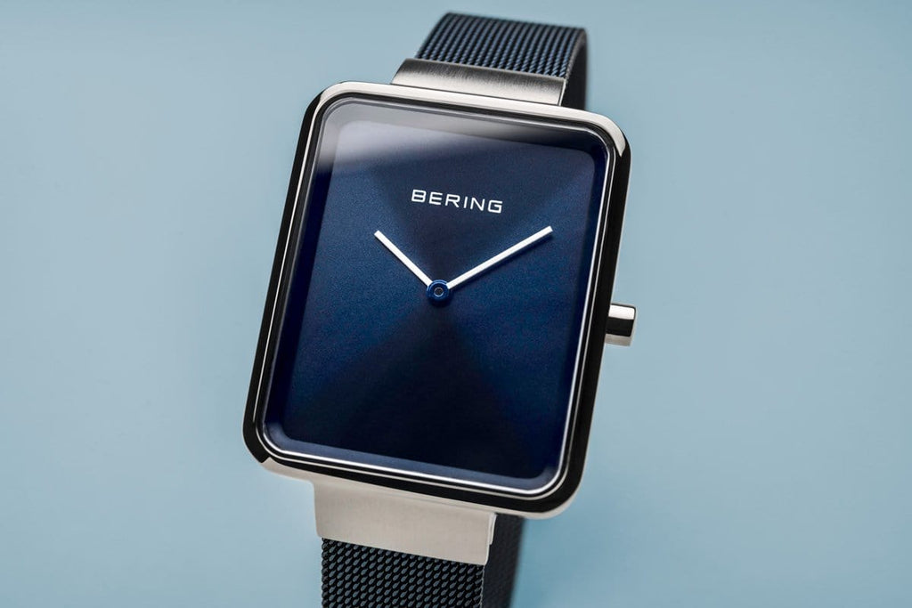 BERING Classic Rectangular Blue Mesh Strap Men's Watch 14533-307