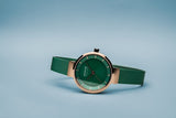 BERING Solar 27mm Polished Rose Gold Green Milanese Strap Women's Watch 14627-Charity