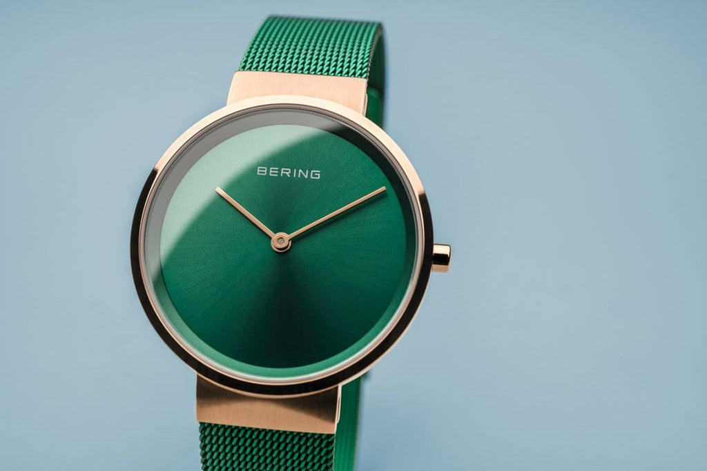 BERING Classic Polished Rose Gold Green Mesh Strap Women's Watch 14531-868