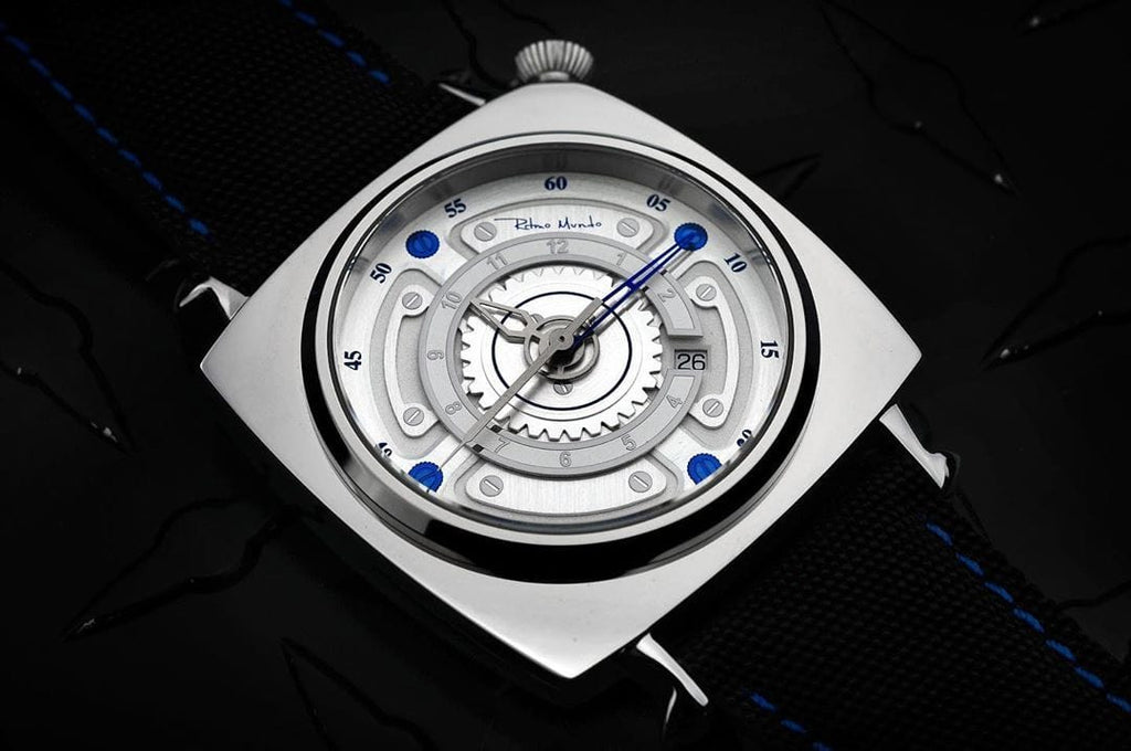 Ritmo Mundo Chaos Swiss Automatic 47mm Silver Dial Men's Watch 2191/2 SS Blue