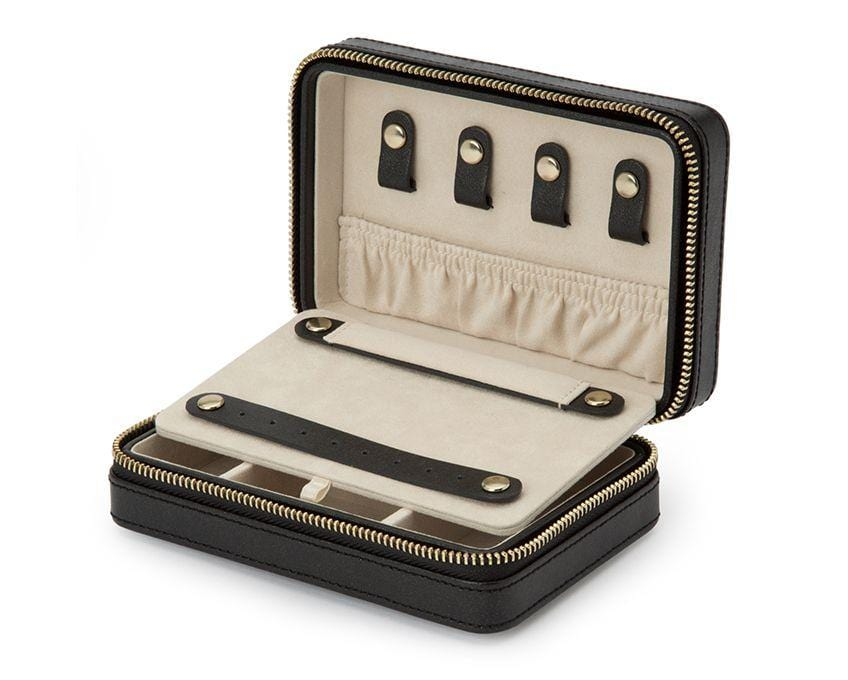WOLF Palermo Black Anthracite Zip Compact Jewelry Case 213602