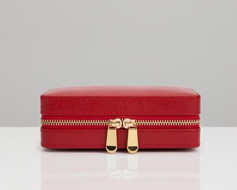 WOLF Palermo Red Leather Zip Compact Jewelry Case 213672