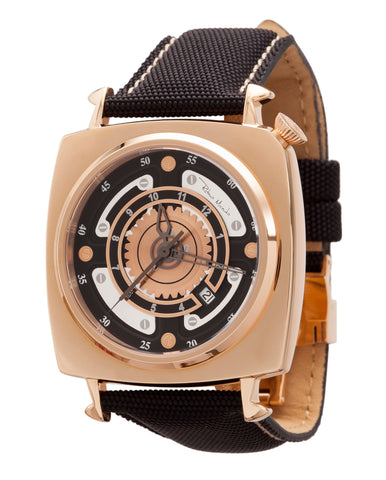 Ritmo Mundo Chaos Rose Gold Swiss Automatic 47mm Offset Dial Men's Watch 2191/5 RG Black