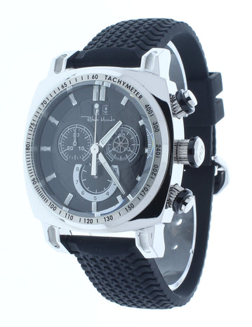 Ritmo Mundo Racer Chrono Black Dial Black Tire Tread Rubber Strap Men's Watch 2221/1 SS Black