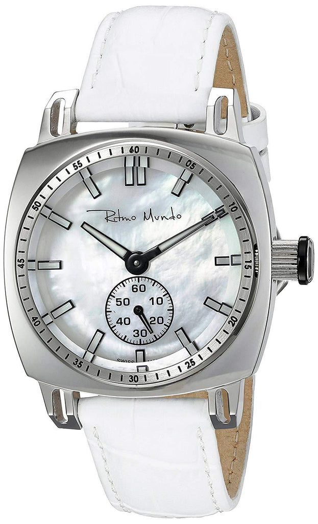 Ritmo Mundo Lady Racer White Leather Band MOP Dial Women's Watch 2231/1 SS White