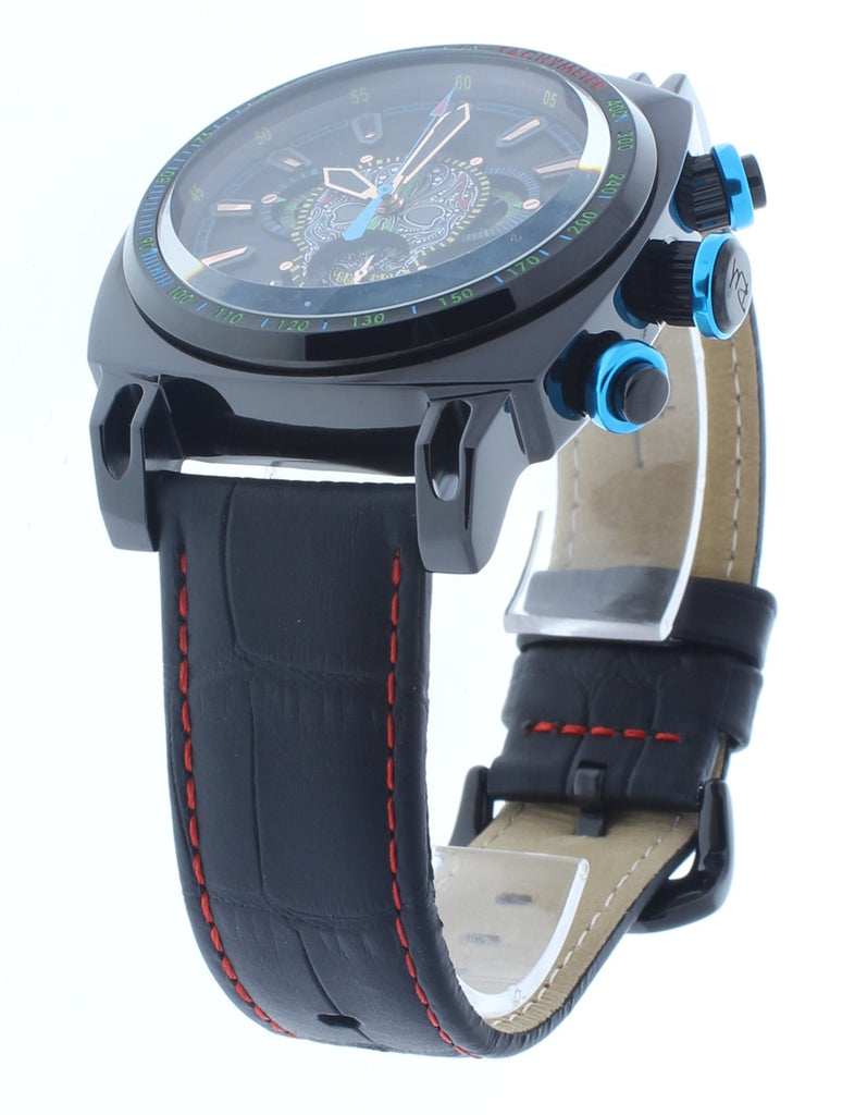 Ritmo Mundo Racer Limited Edition Black Skull Multi Color Chrono Men's Watch 2221/17 Black Multi Skull