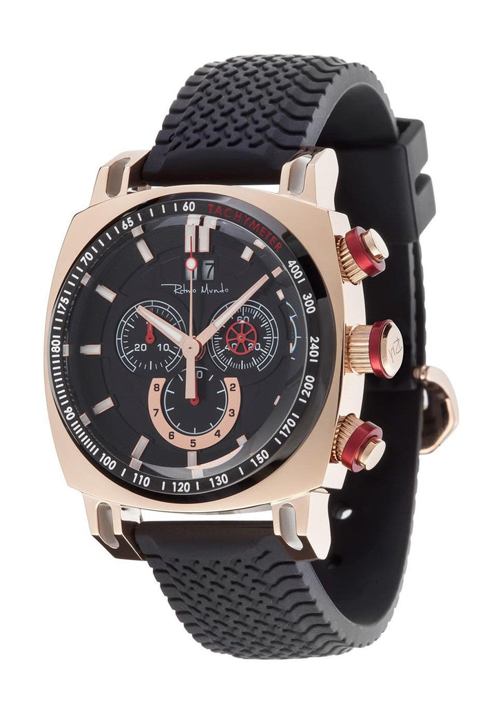 Ritmo Mundo Racer Chronograph Tachymeter Rose Gold Men's Watch 2221/10 RG Red