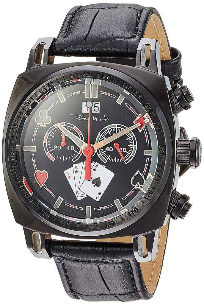 Ritmo Mundo Racer Limited Edition Casino Black Leather Band Men's Watch 2221/11 Black Casino