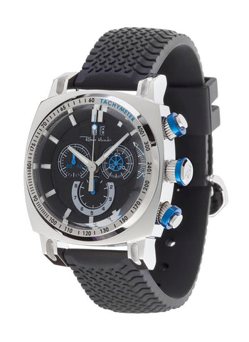 Ritmo Mundo Racer Chrono Black Tire Tread Rubber Strap Men's Watch 2221/2 SS Blue