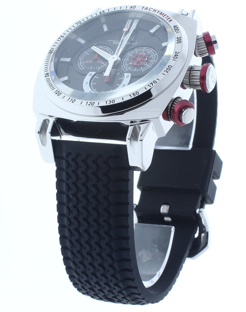 Ritmo Mundo Racer Chrono Red Accents Black Rubber Band Men's Watch 2221/3 SS Red