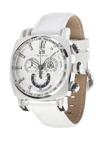 Ritmo Mundo Racer Chrono White Leather Band Men's Watch 2221/4 SS White