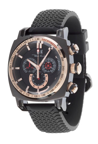 Ritmo Mundo Racer Chrono Black IP Case Rose Gold Accents Men's Watch 2221/7 Black Rose Gold
