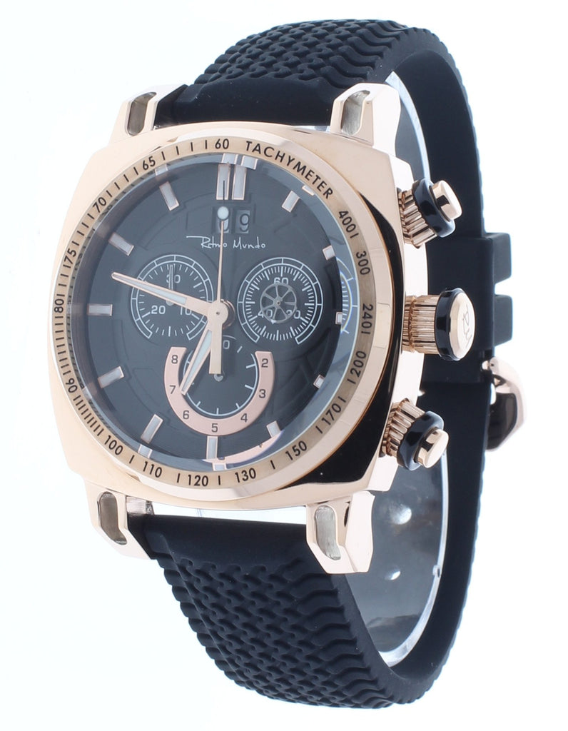 Ritmo Mundo Racer Chrono Rose Gold IP Stainless Steel Case Men's Watch 2221/8 Rose Gold Black