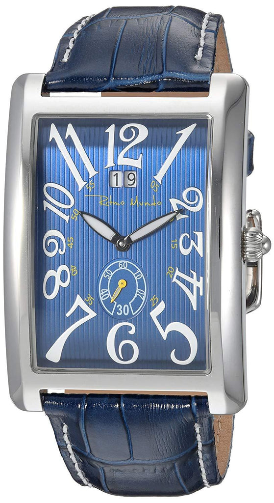 Ritmo Mundo Gran Data Rectangular Case Blue Swiss Quartz Men's Watch 2621/2 Blue