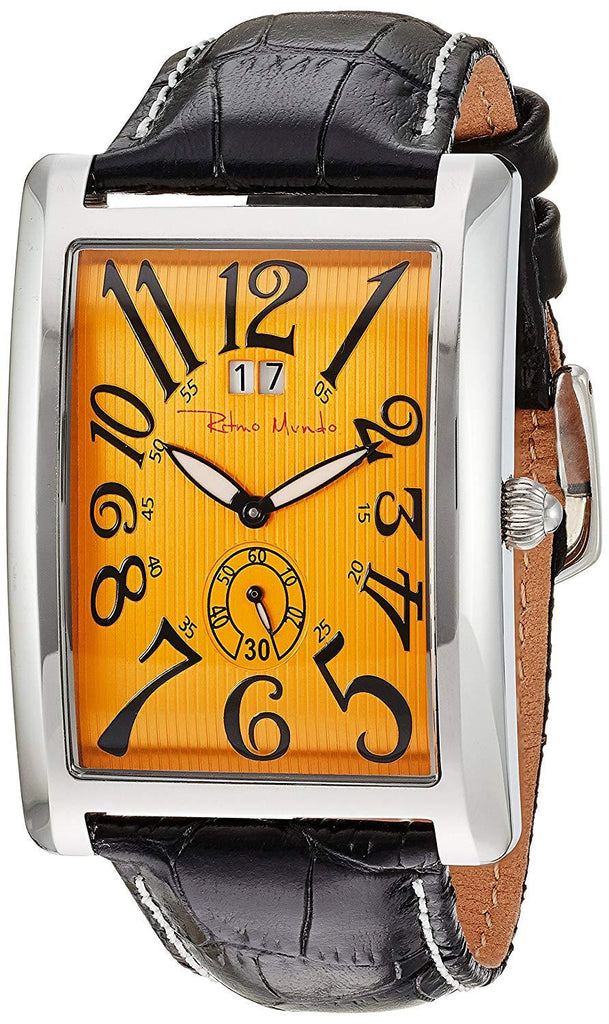 Ritmo Mundo Gran Data Orange Dial Rectangular Case Swiss Quartz Men's Watch 2621/3
