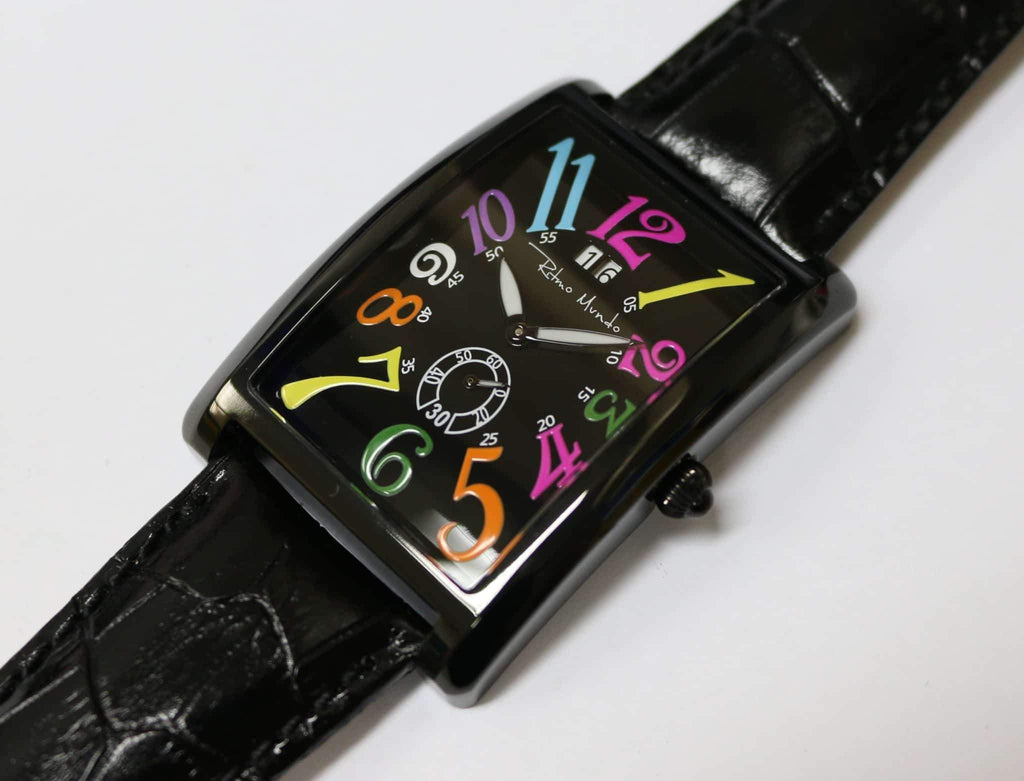 Ritmo Mundo Gran Data Multicolor Dial Rectangular Case Men's Watch 2621/5 Black Multi