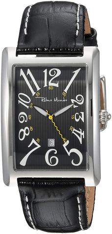 Ritmo Mundo Piccolo Data Black Rectangular Case Swiss Quartz Unisex Watch 2622/1 Black