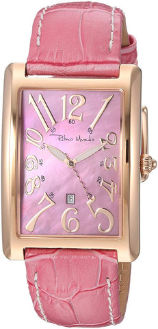 Ritmo Mundo Piccolo Data Rose Gold Rectangular Case Pink Women's Watch 2622/5 RG Pink