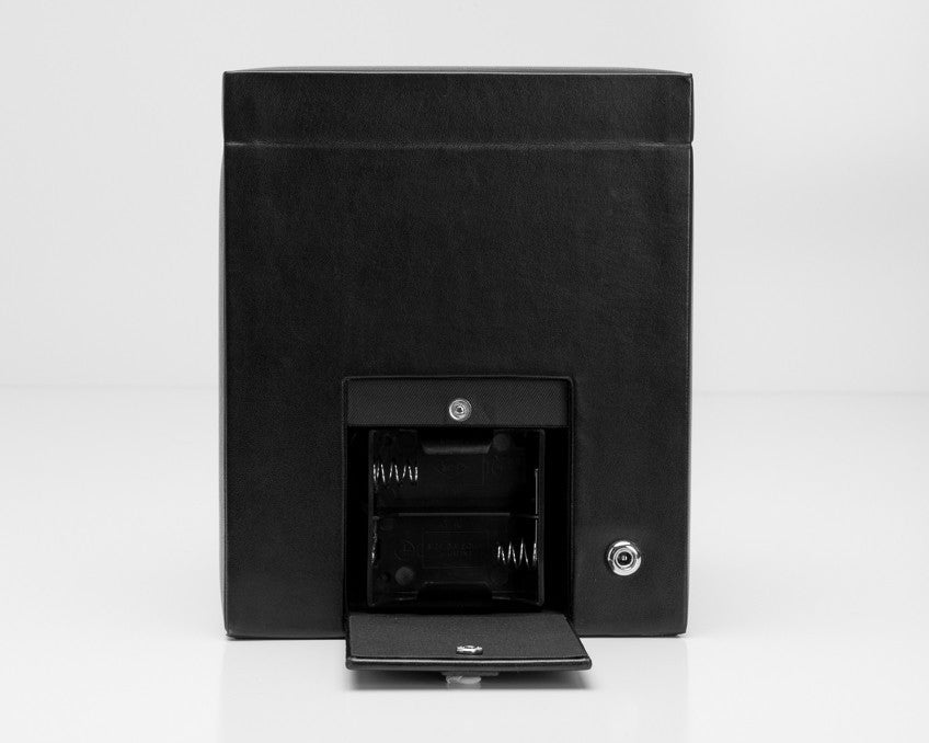 Wolf 270302 Black Heritage Single 2.1 Watch Winder with Storage and Lock-In Cuff
