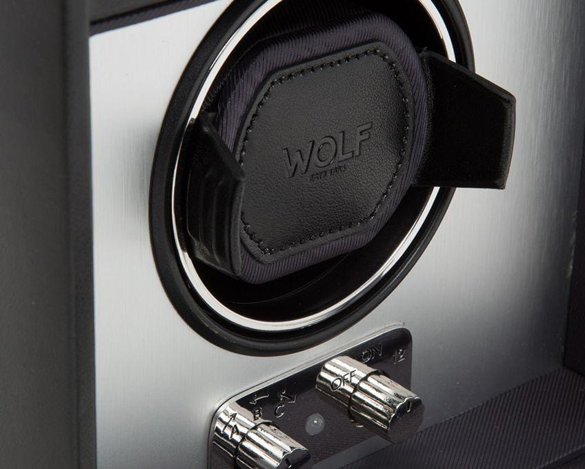 WOLF 270303 Brushed Metal Heritage Single 2.1 Watch Winder with Storage and Lock-In Cuff