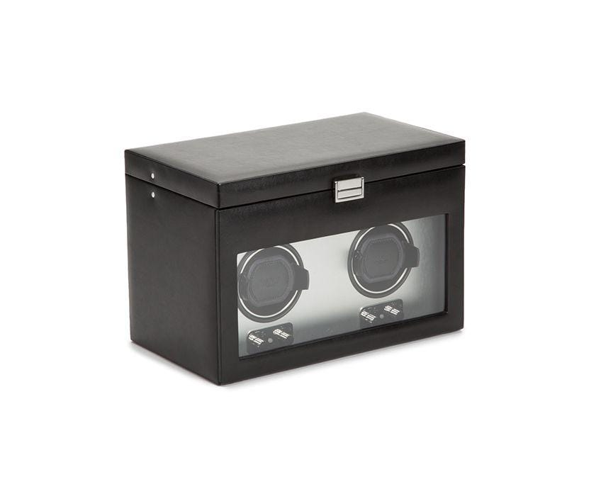 WOLF 270403 Brushed Metal Heritage Double 2.1 Winder with Storage and Lock-In Cuff