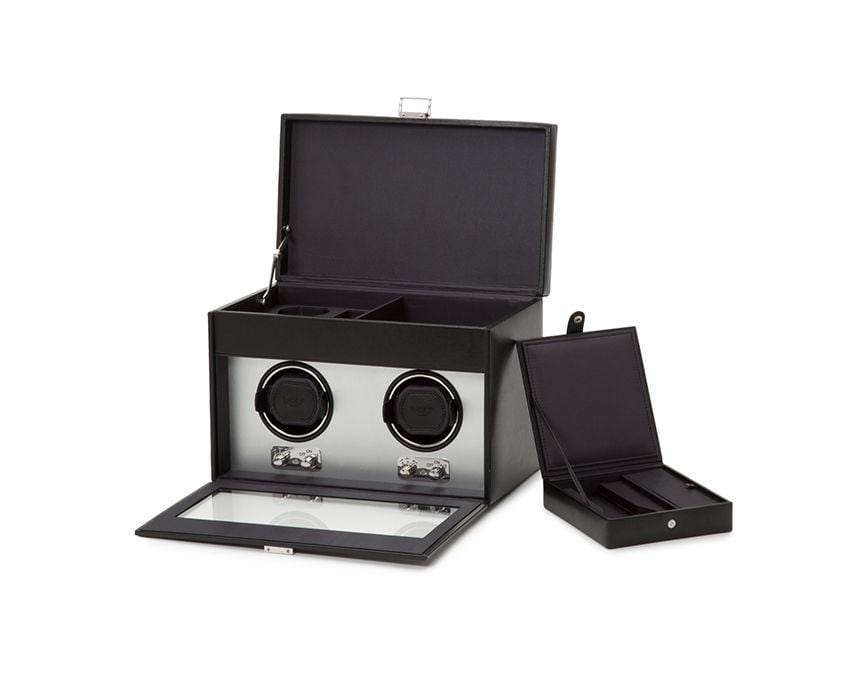 WOLF 270403 Brushed Metal Heritage Double Watch WInder With Storage