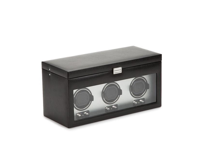 WOLF 270503 Brushed Metal Heritage Triple Watch Winder With Storage