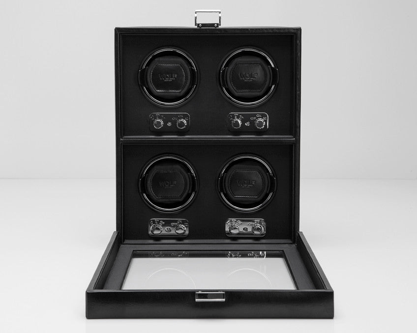 WOLF 270602 Heritage 4 Piece Watch Winder Black