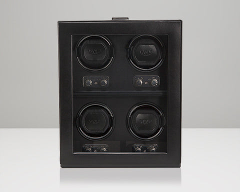 WOLF 270602 Heritage 4 Piece 2.1 Watch Winder Black With Glass Cover