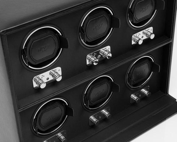 WOLF 270702 Heritage 6 Piece 2.1 Watch Winder Black With Glass Cover