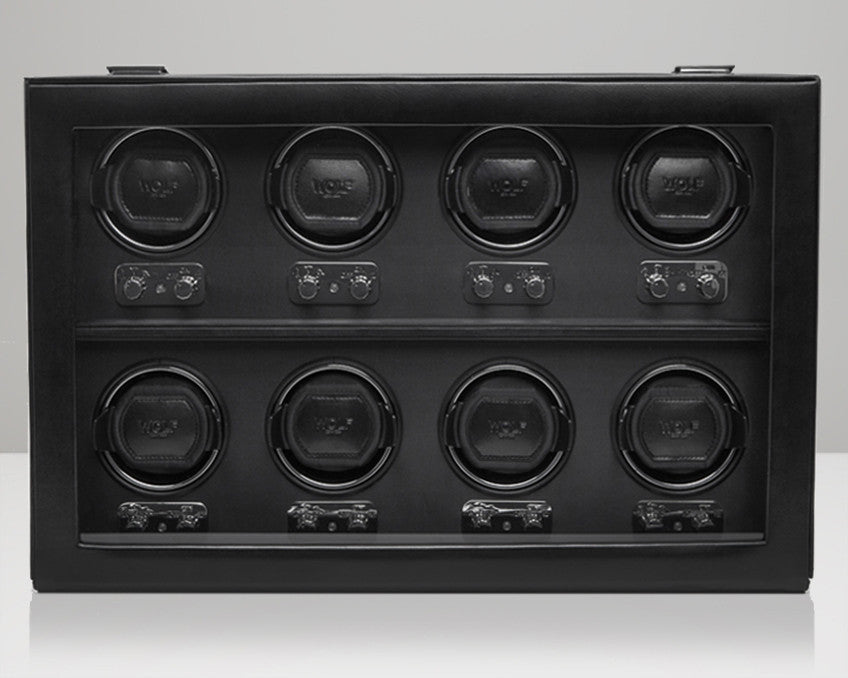 WOLF 270802 Heritage 8 Piece 2.1 Watch Winder Black With Glass Cover