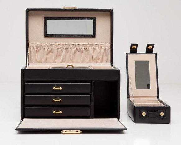 WOLF 280002 Black Large Jewelry Box With Travel Case Heritage