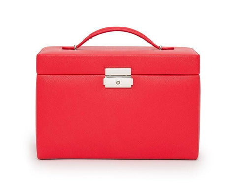 WOLF 280014 Red Saffiano Heritage Large Jewelry Box With Travel Case