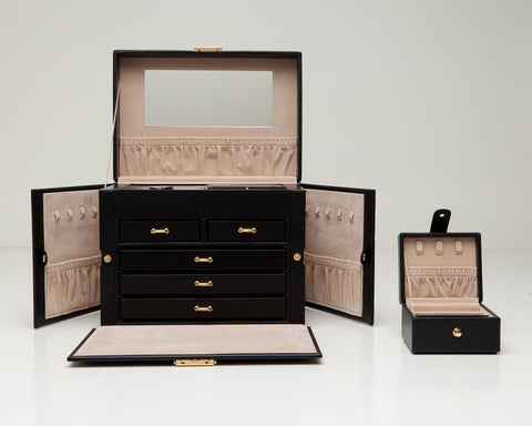 WOLF 280102 Heritage Large Black Jewelry Box With Lock