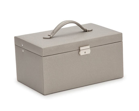 WOLF Heritage Pewter Saffiano Extra Large XL Jewelry Box 280234