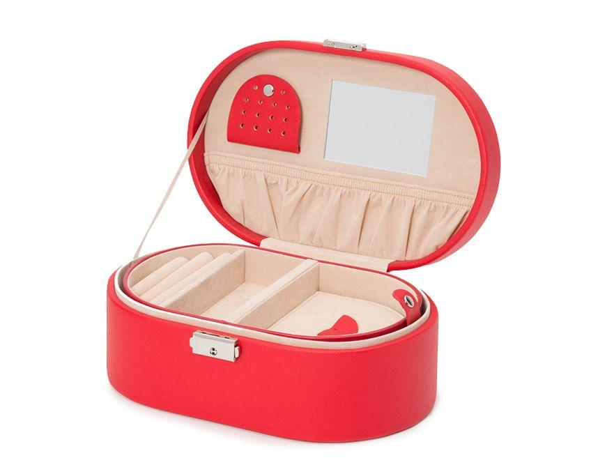 WOLF Heritage Oval Red Saffiano Jewelry Box 280514