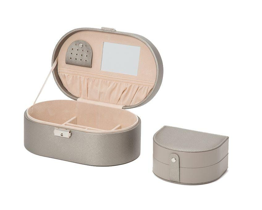 WOLF Heritage Oval Pewter Saffiano Jewelry Box 280534