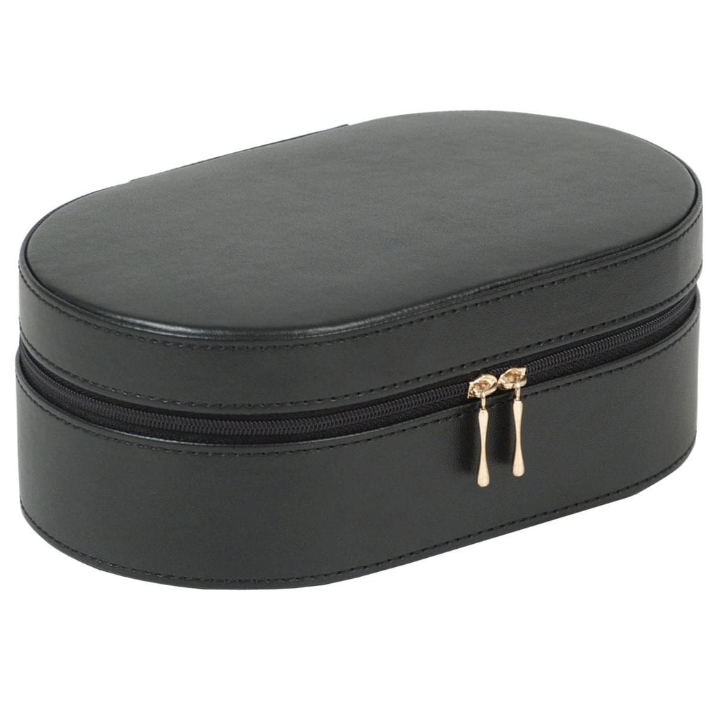 WOLF 280602 Oval Black Zip Travel Case With Zip Closure