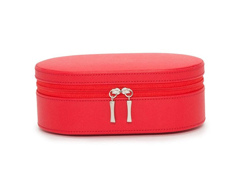 WOLF 280614 Oval Red Saffiano Zip Travel Case With Zip Closure