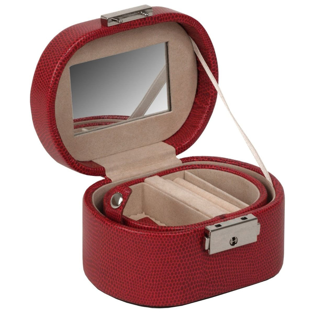 WOLF Heritage Mini Oval Red Lizard Jewelry Box 281404