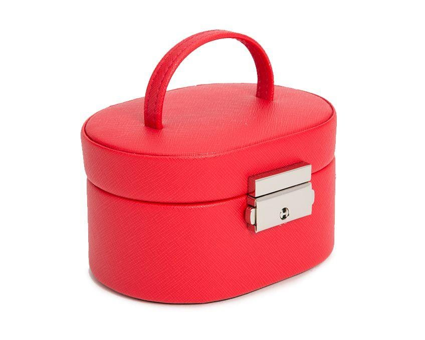 WOLF Heritage Mini Oval Red Saffiano Jewelry Box 281414
