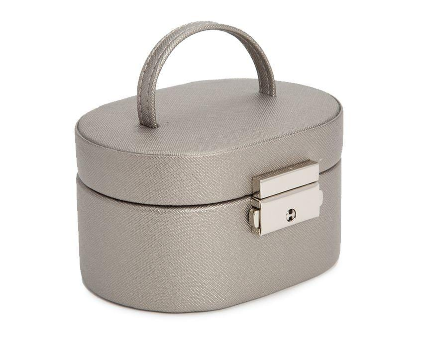 WOLF Heritage Mini Oval Pewter Saffiano Jewelry Box 281434