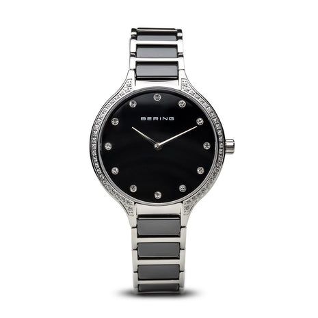 BERING Ceramic 34mm Polished Silver Crystal Markers Women's Watch 30434-742