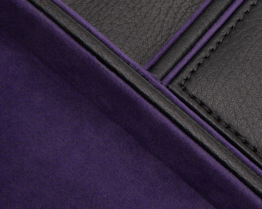 WOLF Blake Valet Tray Black - Purple Leather 305128