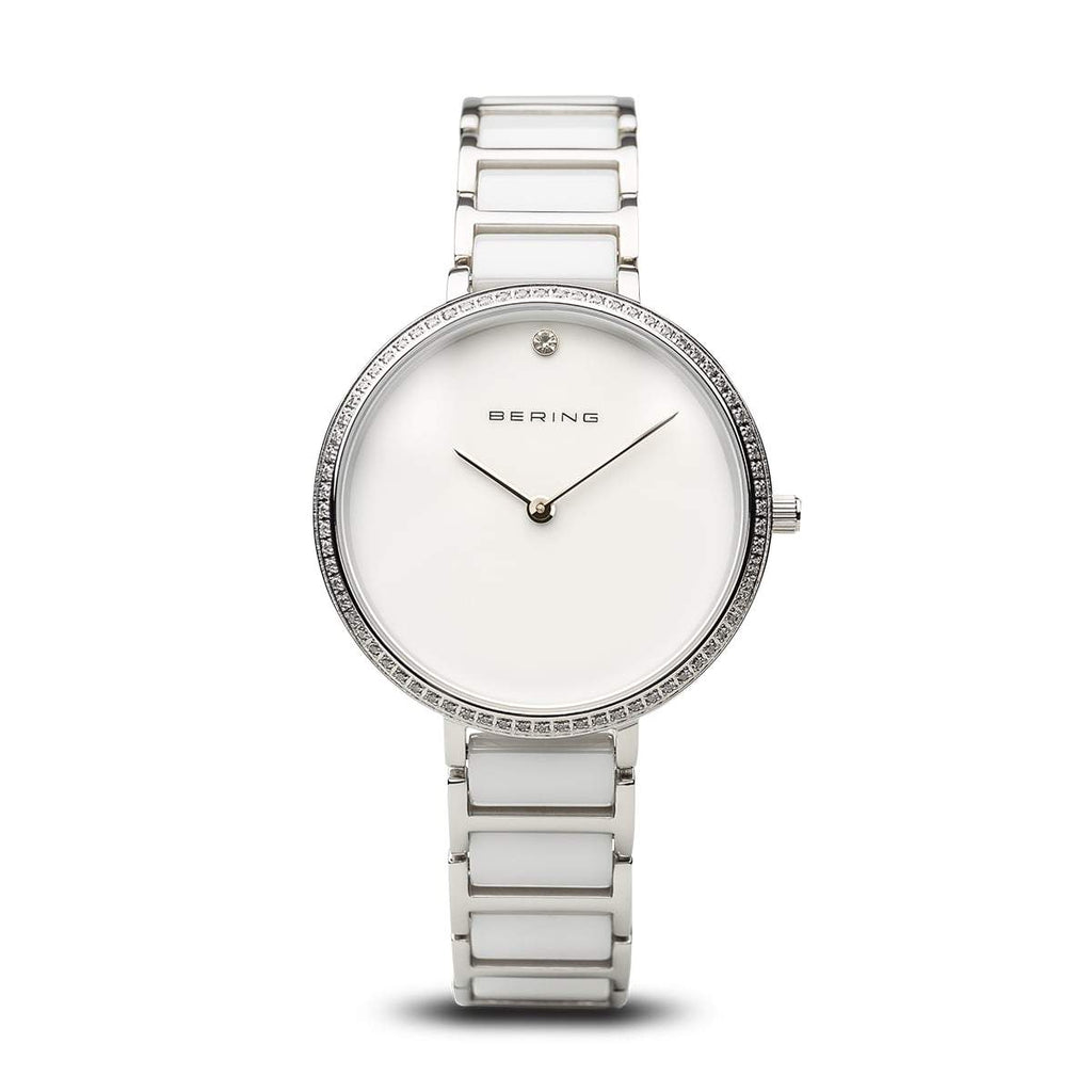 BERING Ceramic 34mm Polished Silver White Dial Crystal Bezel Women's Watch 30534-754