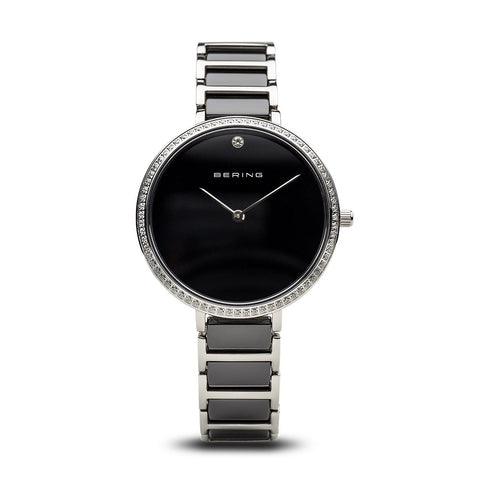 BERING Ceramic 34mm Polished Silver Crystal Bezel Women's Watch 30534-742