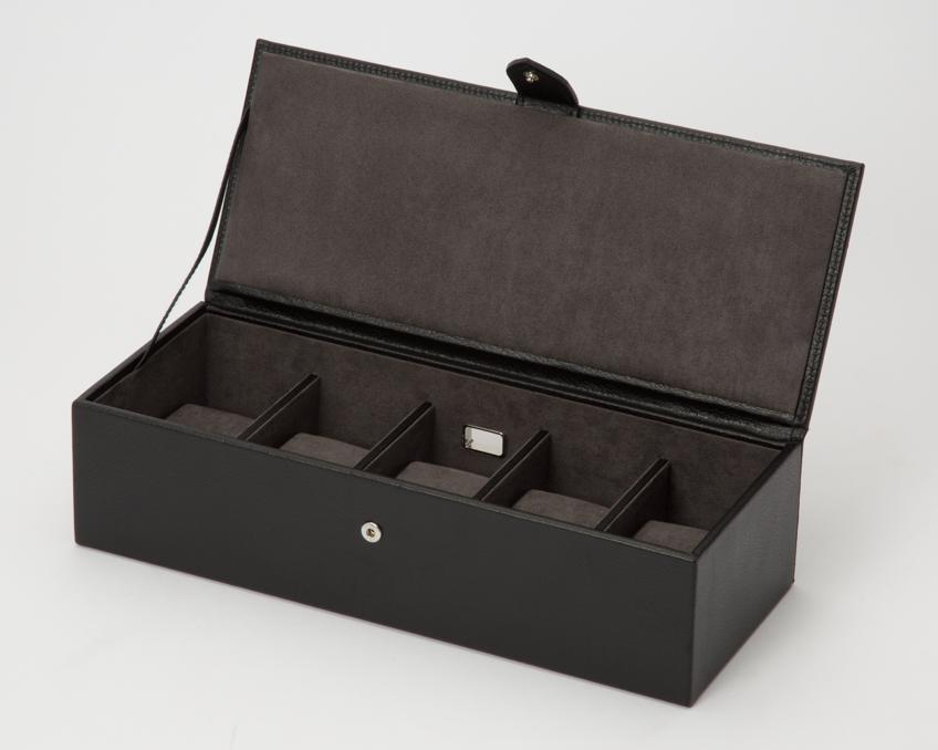 WOLF Blake 5 Piece Leather Watch Box Black - Grey 305502