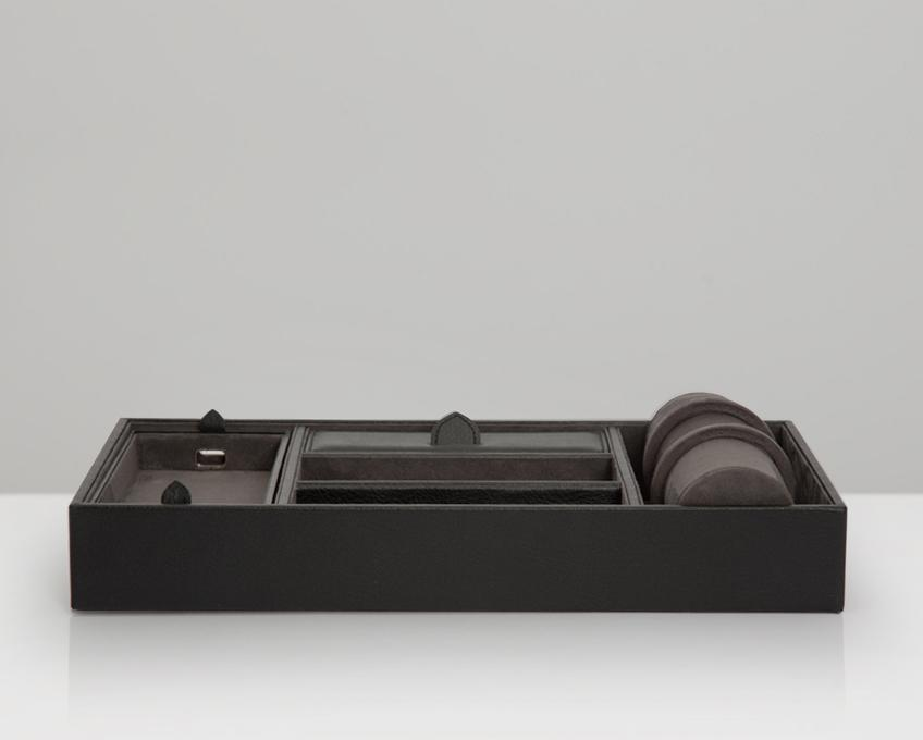 WOLF Blake Valet Tray With Watch Cuff Black - Grey 306402